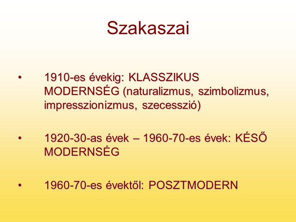Szakaszai 1910-es évekig: KLASSZIKUS MODERNSÉG (naturalizmus, szimbolizmus, impresszionizmus, szecesszió)