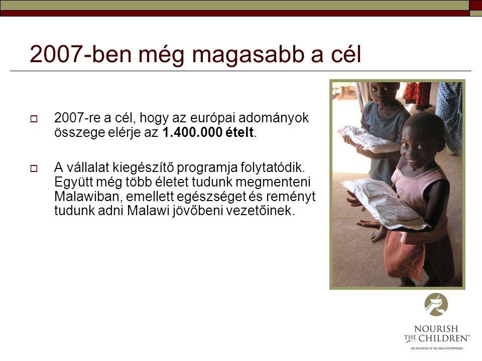 2007-ben még magasabb a cél 2007-re a cél, hogy az európai adományok összege elérje az 1.400.000 ételt.