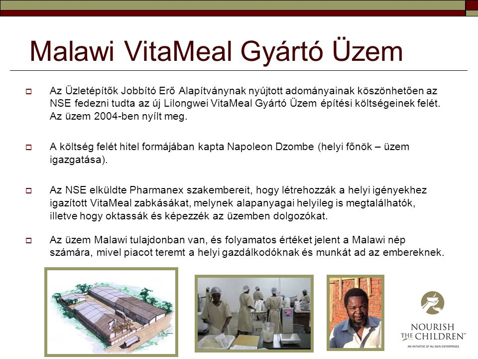 Malawi VitaMeal Gyártó Üzem