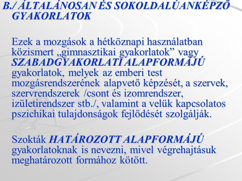 B./ ÁLTALÁNOSAN ÉS SOKOLDALÚANKÉPZŐ GYAKORLATOK