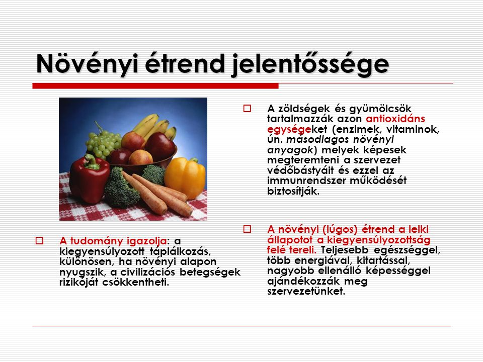 Növényi étrend jelentőssége