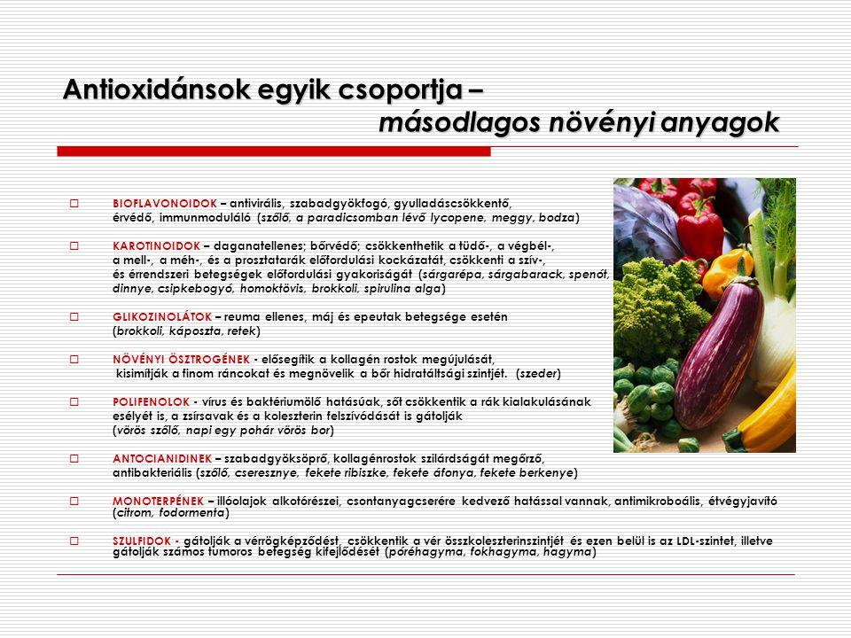 Antioxidánsok egyik csoportja – másodlagos növényi anyagok