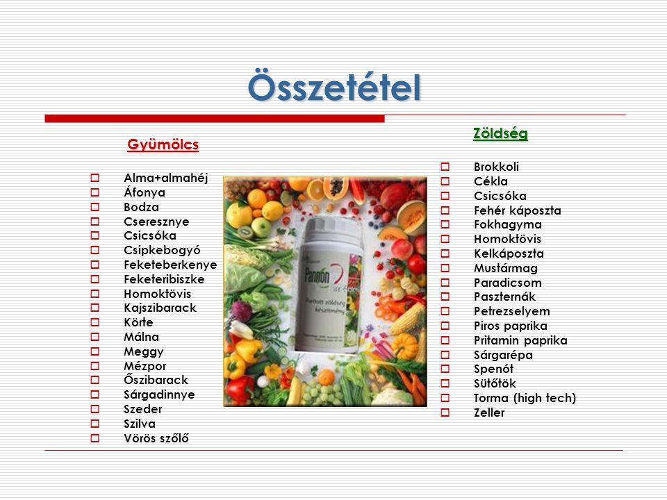 Összetétel Zöldség Gyümölcs Brokkoli Cékla Alma+almahéj Csicsóka