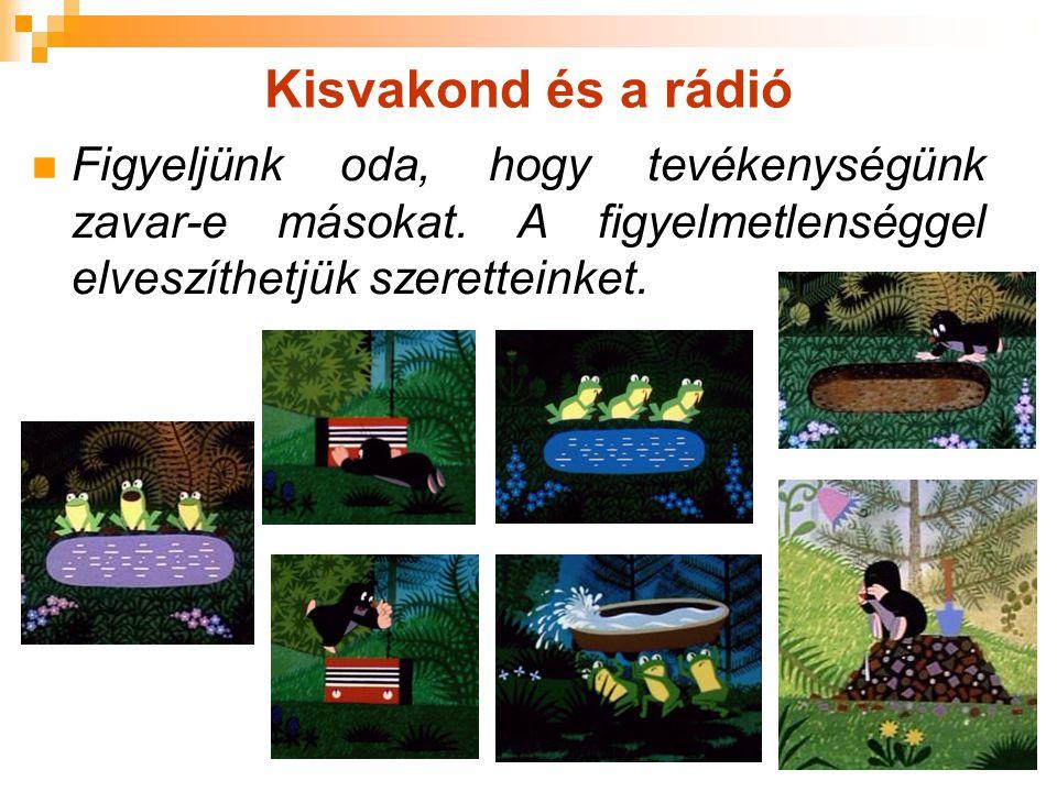 Kisvakond és a rádió Figyeljünk oda, hogy tevékenységünk zavar-e másokat.