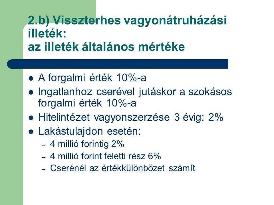 2.b) Visszterhes vagyonátruházási illeték: az illeték általános mértéke