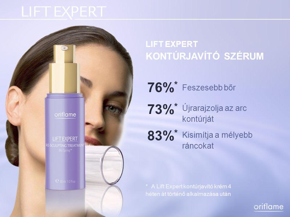 76%* 73%* 83%* LIFT EXPERT KONTÚRJAVÍTÓ SZÉRUM Feszesebb bőr