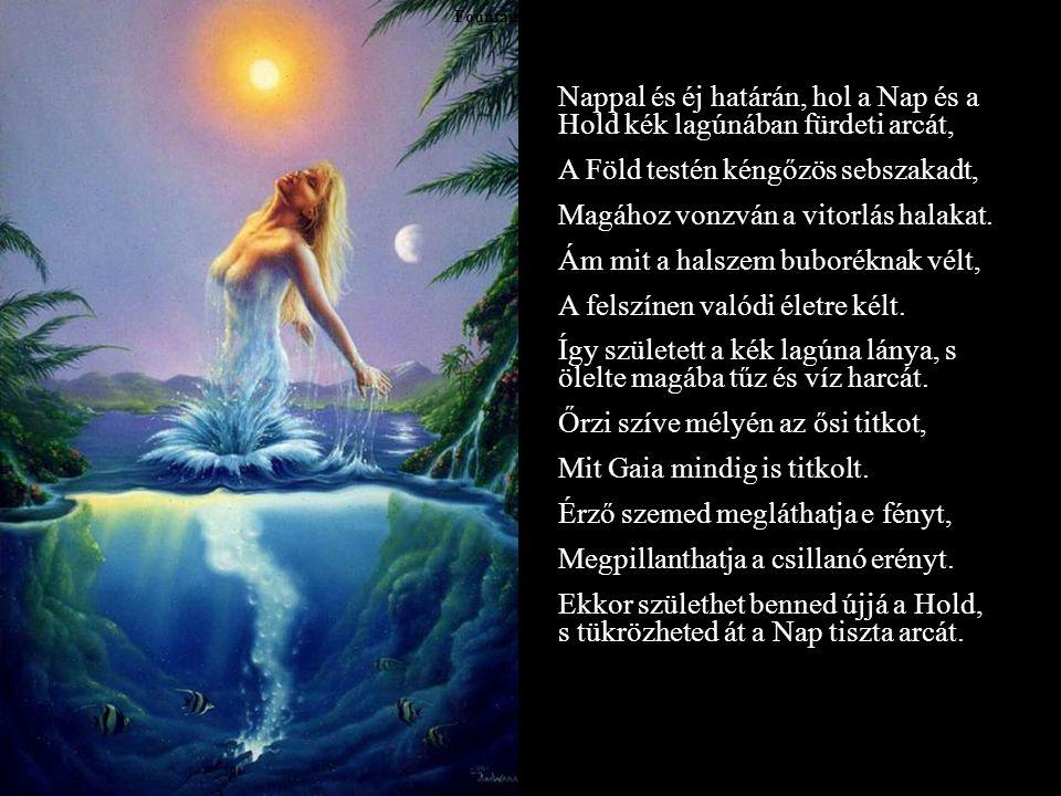 Nappal és éj határán, hol a Nap és a Hold kék lagúnában fürdeti arcát,