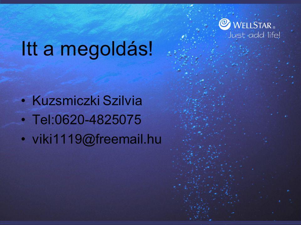 Itt a megoldás! Kuzsmiczki Szilvia Tel:0620-4825075