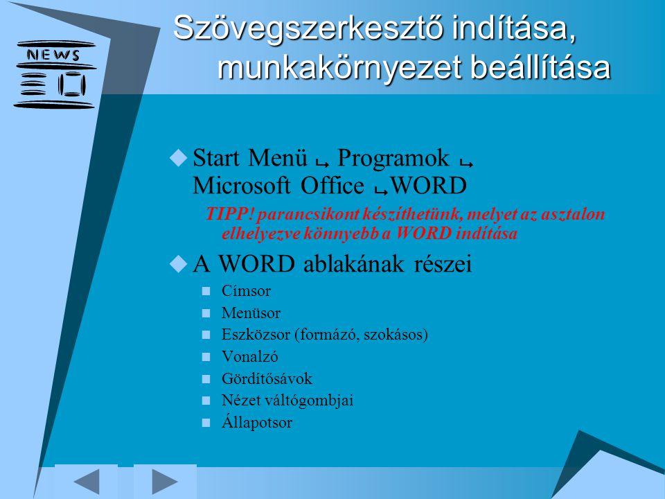 Szövegszerkesztő indítása, munkakörnyezet beállítása