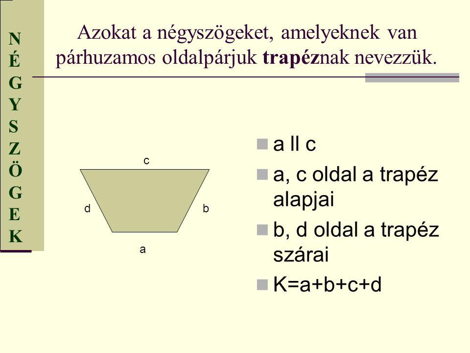 a, c oldal a trapéz alapjai b, d oldal a trapéz szárai K=a+b+c+d