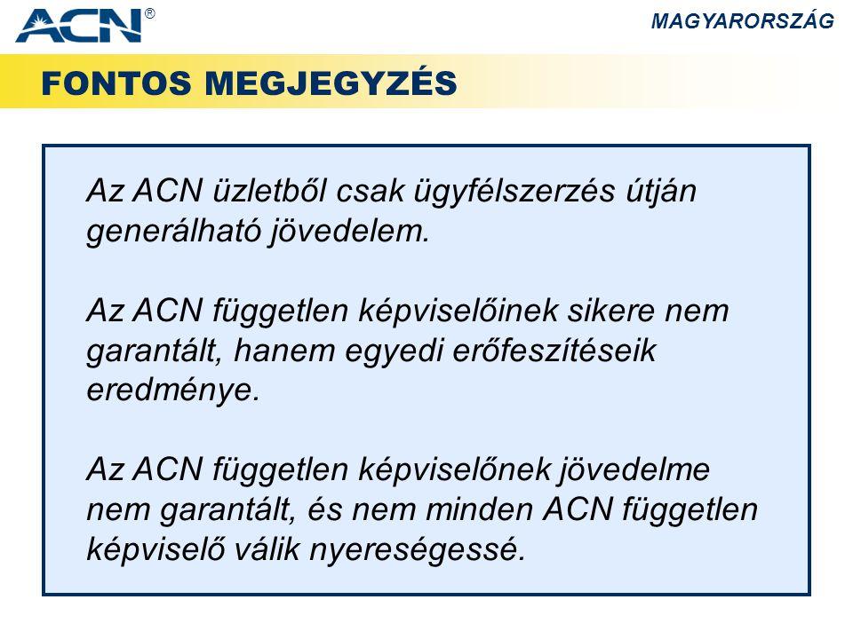 Az ACN üzletből csak ügyfélszerzés útján generálható jövedelem.