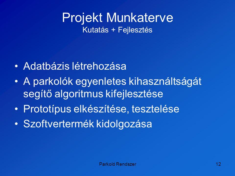 Projekt Munkaterve Kutatás + Fejlesztés