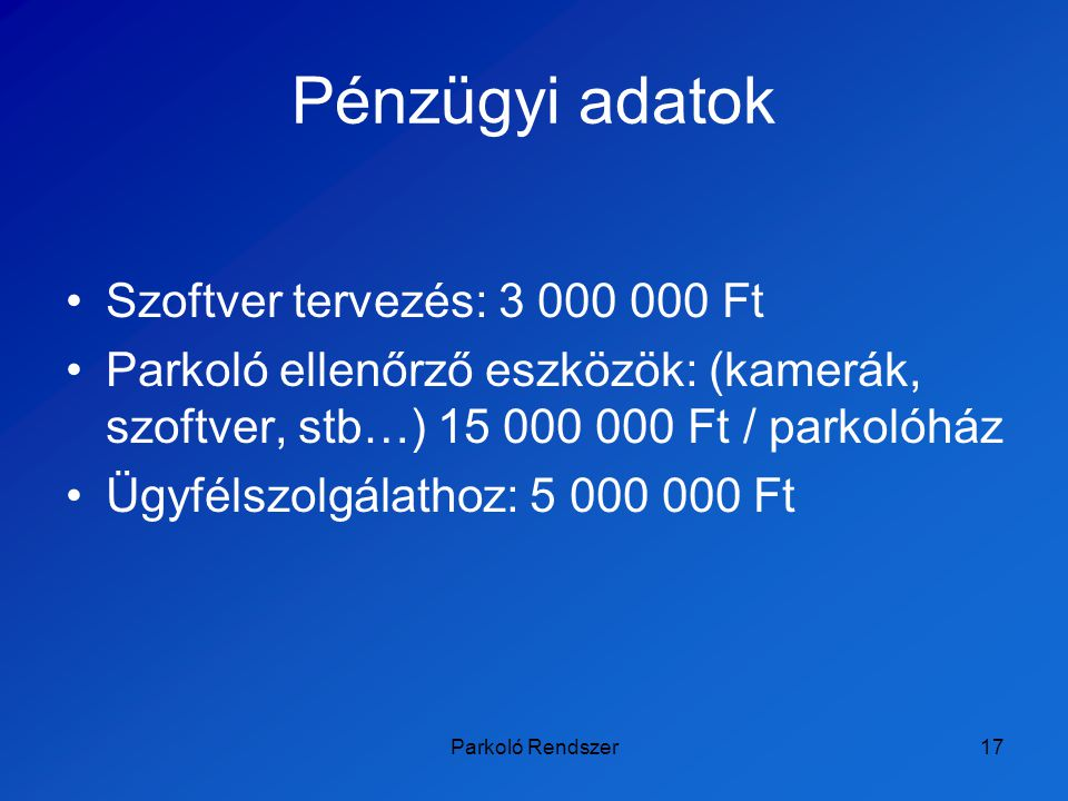 Pénzügyi adatok Szoftver tervezés: 3 000 000 Ft