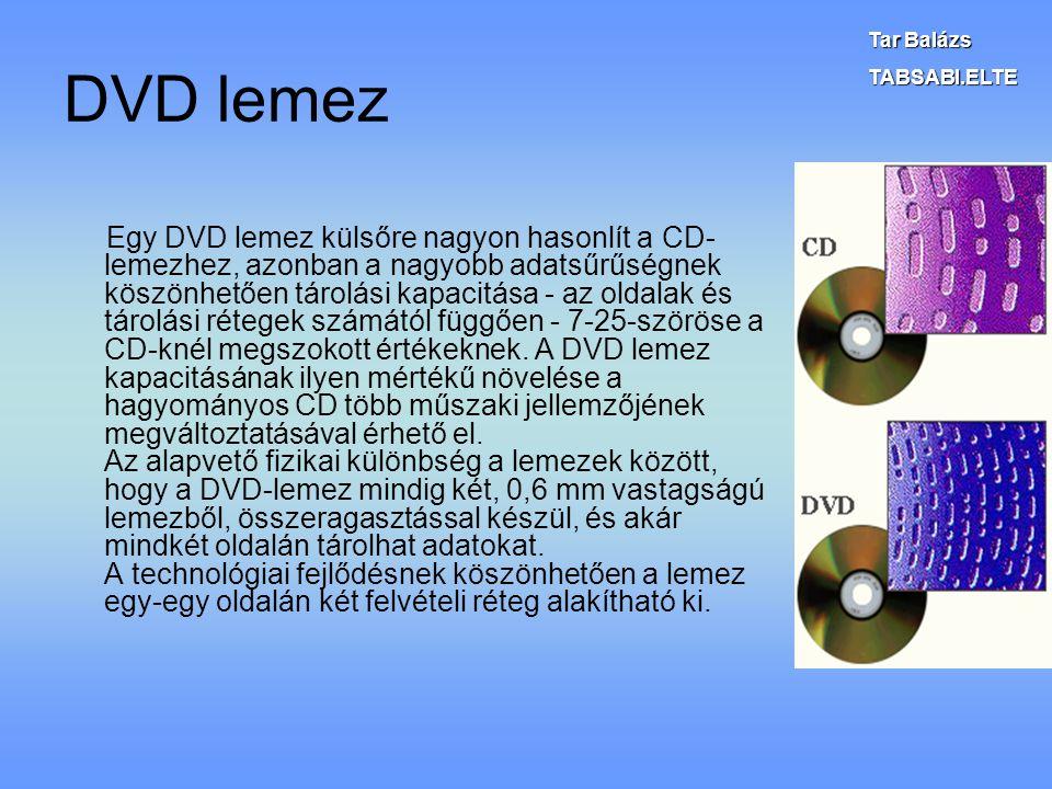 Tar Balázs TABSABI.ELTE. DVD lemez.