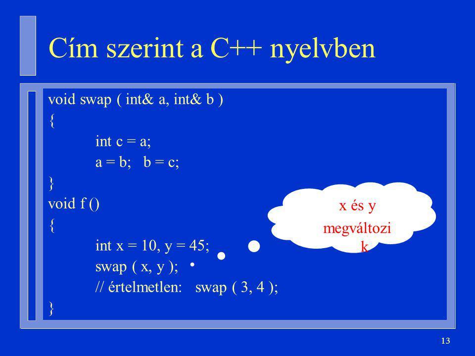 Cím szerint a C++ nyelvben