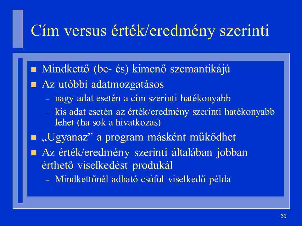 Cím versus érték/eredmény szerinti