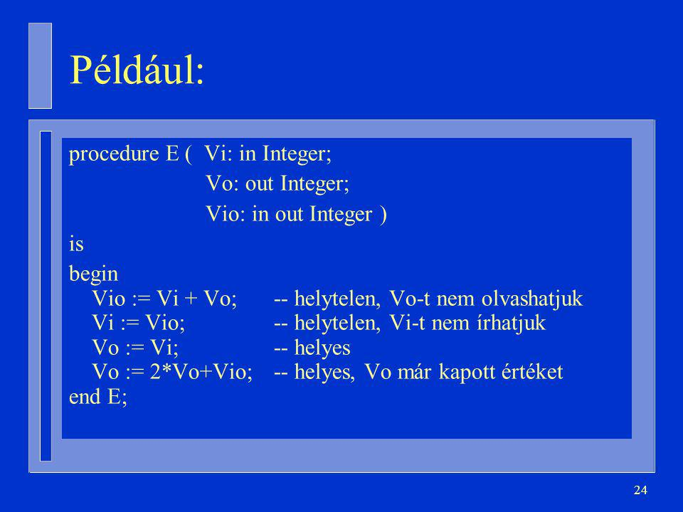 Például: procedure E ( Vi: in Integer; Vo: out Integer;