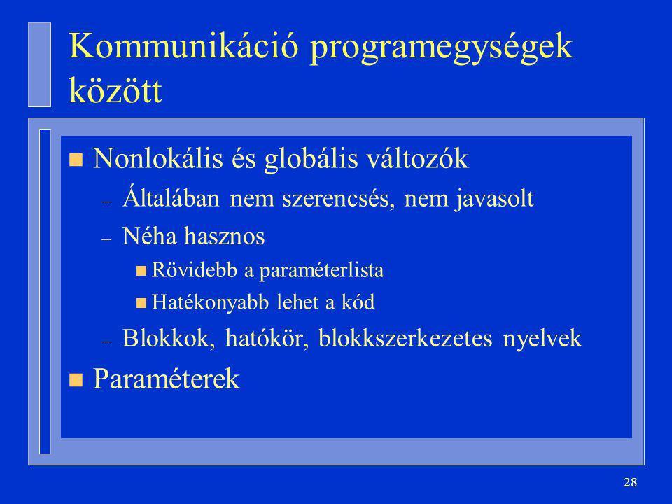 Kommunikáció programegységek között