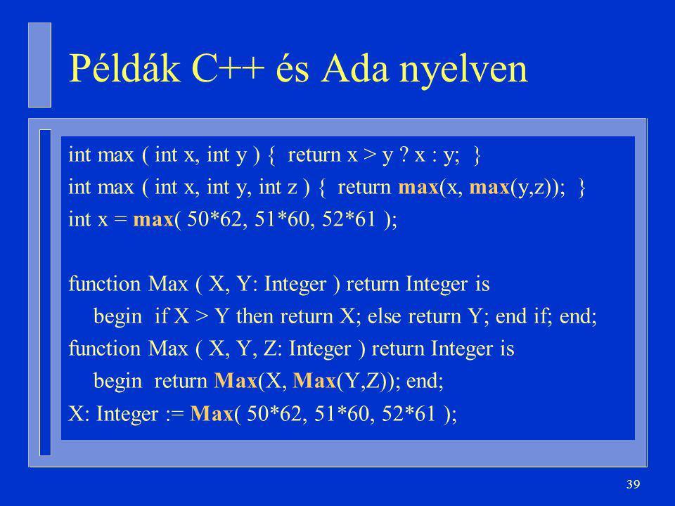 Példák C++ és Ada nyelven