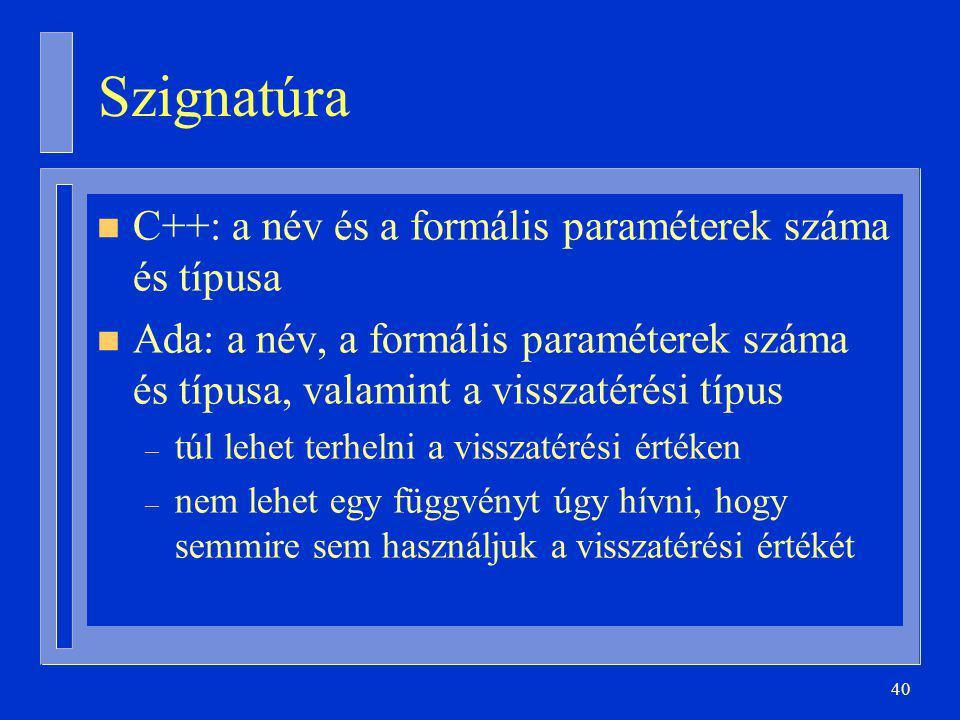 Szignatúra C++: a név és a formális paraméterek száma és típusa