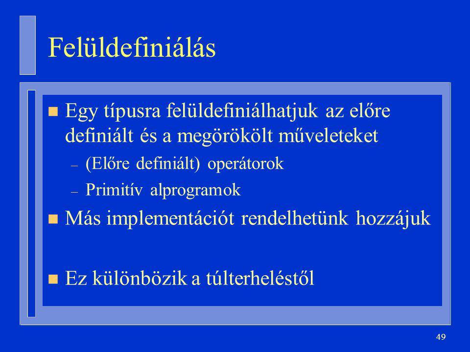 Felüldefiniálás Egy típusra felüldefiniálhatjuk az előre definiált és a megörökölt műveleteket. (Előre definiált) operátorok.