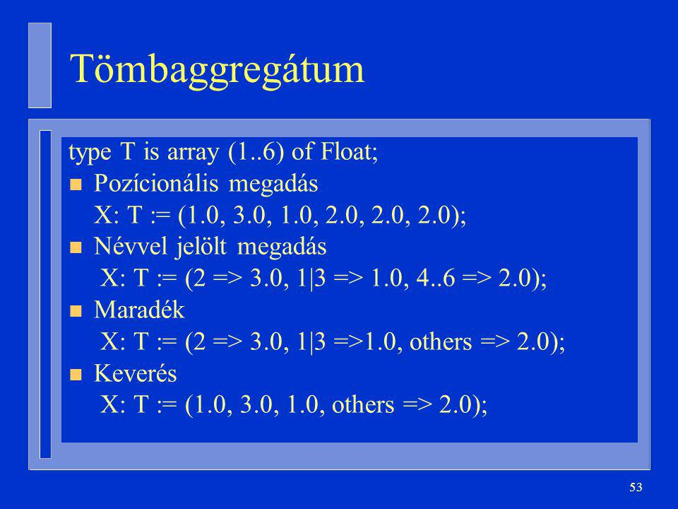 Tömbaggregátum type T is array (1..6) of Float; Pozícionális megadás