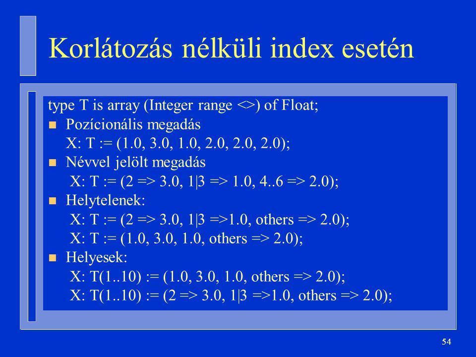 Korlátozás nélküli index esetén