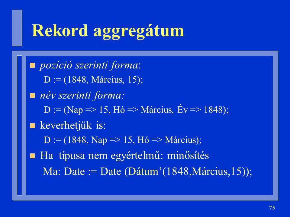 Rekord aggregátum pozíció szerinti forma: név szerinti forma: