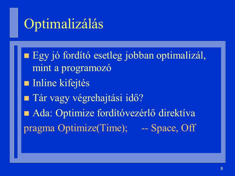 Optimalizálás Egy jó fordító esetleg jobban optimalizál, mint a programozó. Inline kifejtés. Tár vagy végrehajtási idő