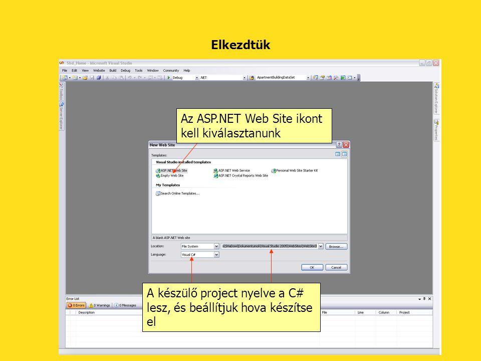 Elkezdtük Az ASP.NET Web Site ikont kell kiválasztanunk.