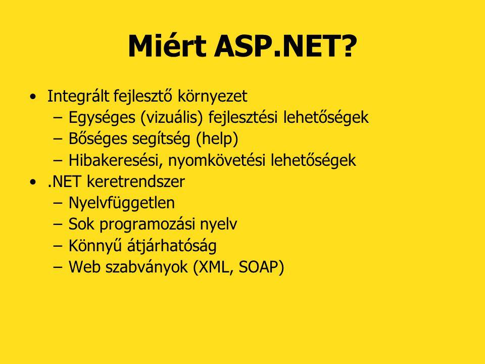 Miért ASP.NET Integrált fejlesztő környezet