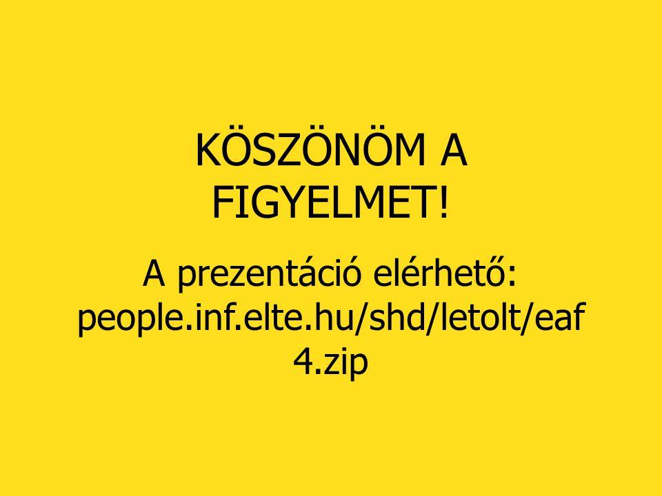 A prezentáció elérhető: people.inf.elte.hu/shd/letolt/eaf4.zip