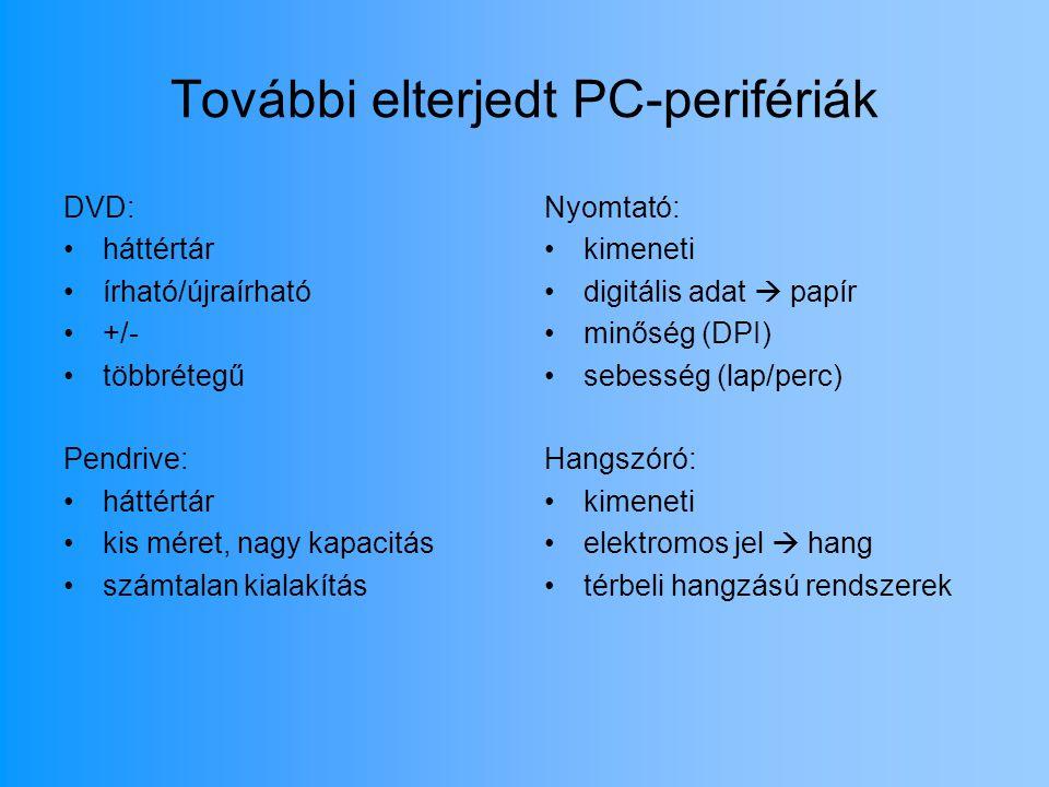 További elterjedt PC-perifériák