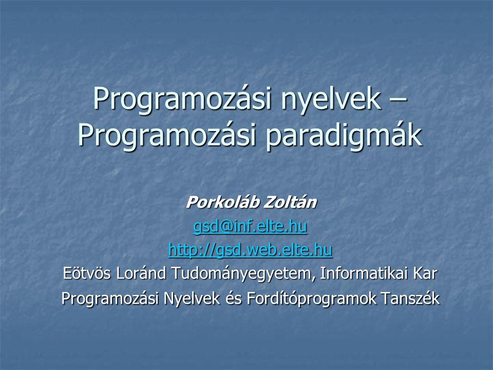 Programozási nyelvek – Programozási paradigmák