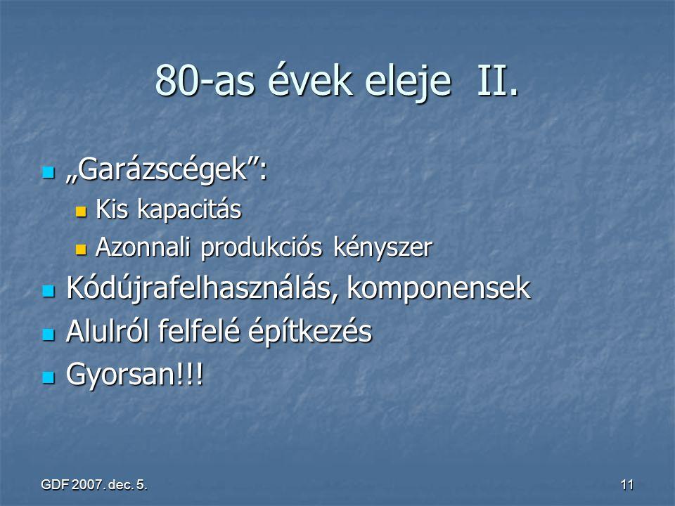 """80-as évek eleje II. """"Garázscégek : Kódújrafelhasználás, komponensek"""