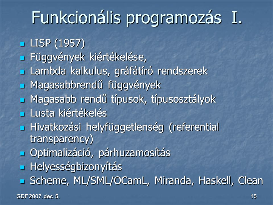 Funkcionális programozás I.