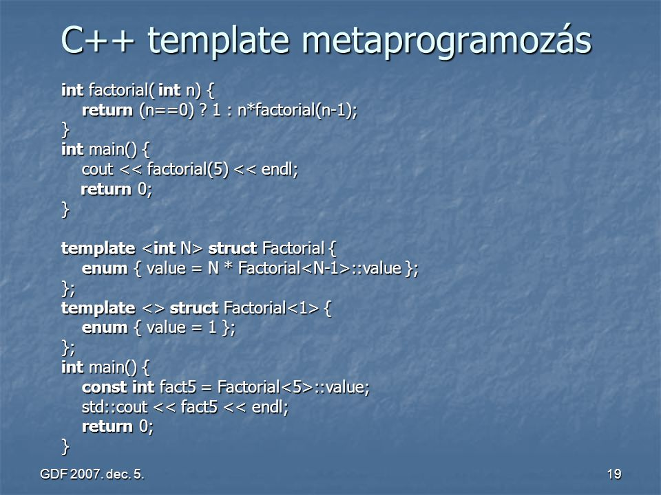 C++ template metaprogramozás