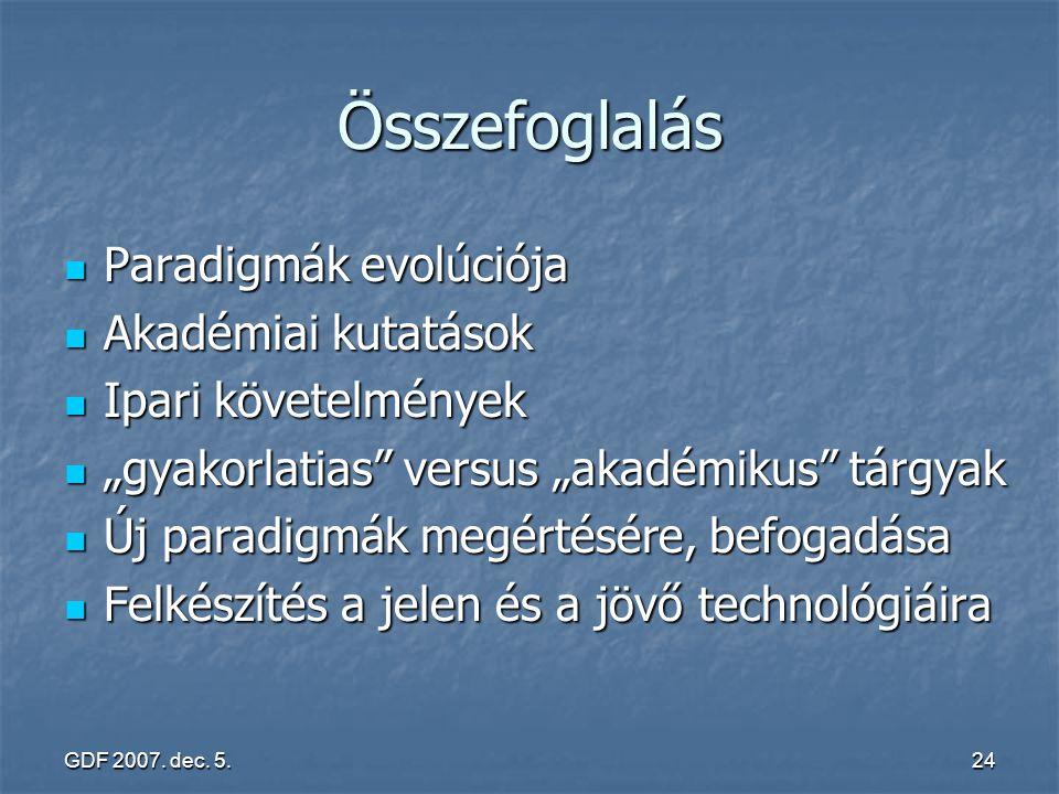 Összefoglalás Paradigmák evolúciója Akadémiai kutatások