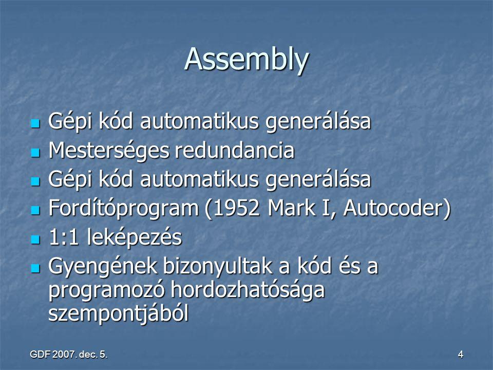 Assembly Gépi kód automatikus generálása Mesterséges redundancia