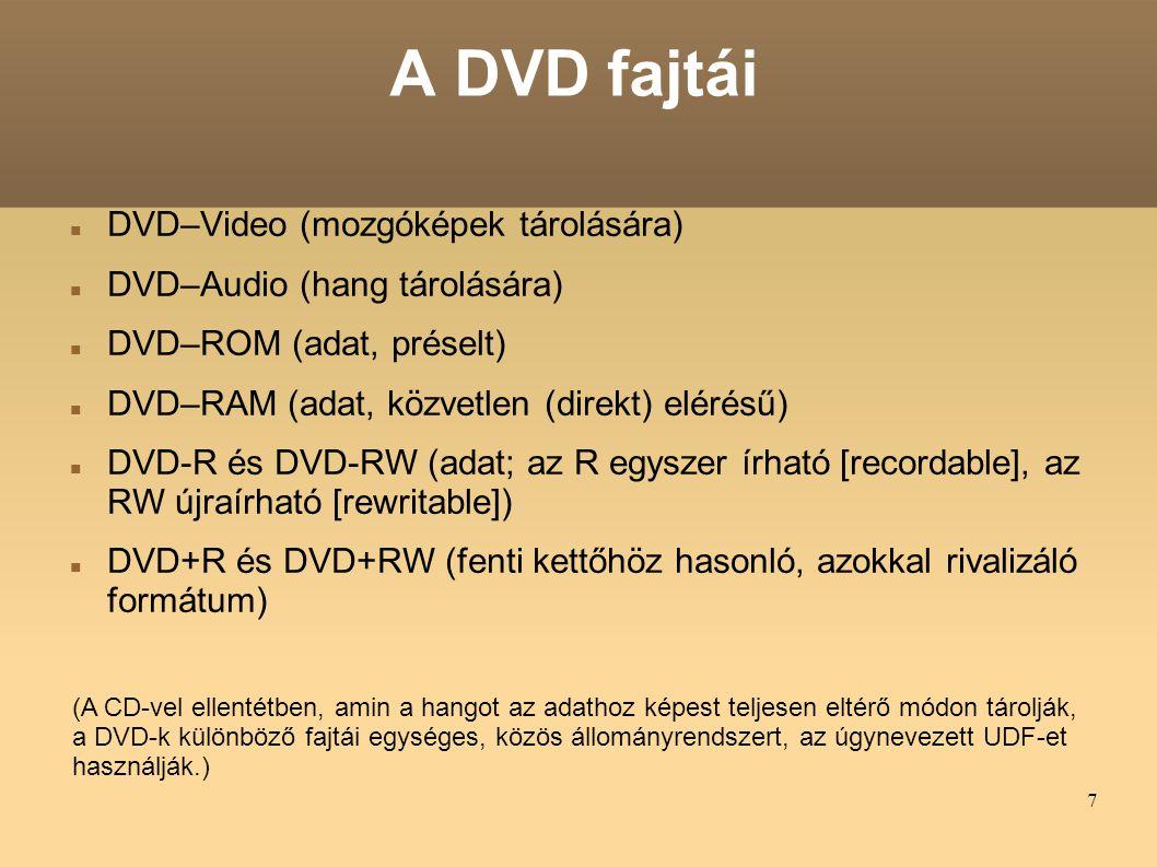 A DVD fajtái DVD–Video (mozgóképek tárolására)