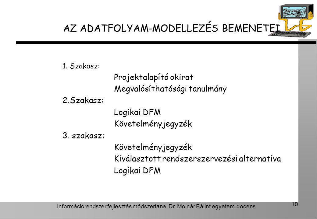 AZ ADATFOLYAM-MODELLEZÉS BEMENETEI