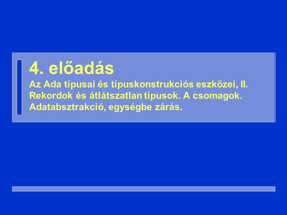 4. előadás Az Ada típusai és típuskonstrukciós eszközei, II