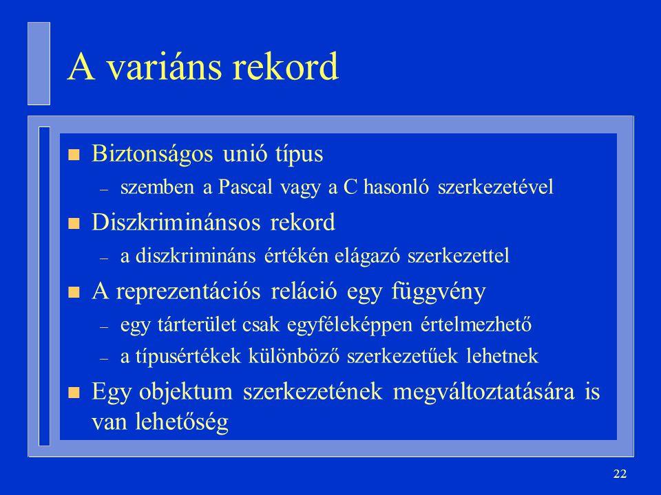 A variáns rekord Biztonságos unió típus Diszkriminánsos rekord