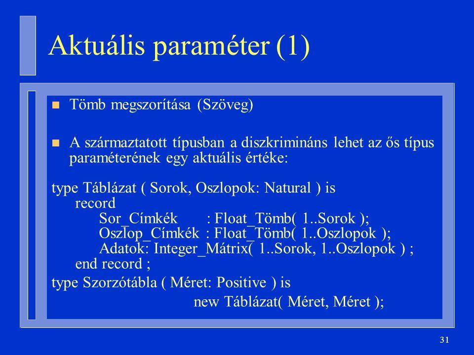 Aktuális paraméter (1) Tömb megszorítása (Szöveg)