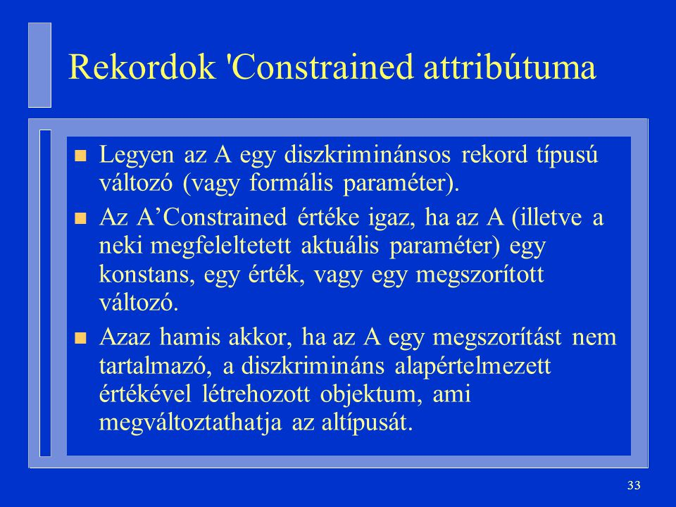 Rekordok Constrained attribútuma