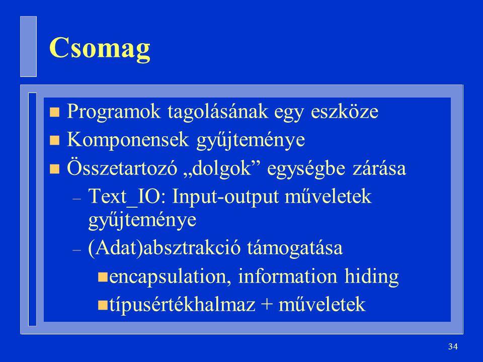 Csomag Programok tagolásának egy eszköze Komponensek gyűjteménye