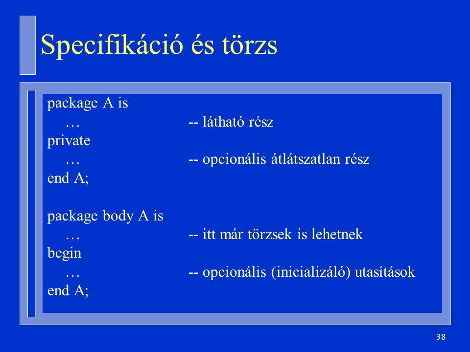 Specifikáció és törzs package A is … -- látható rész private