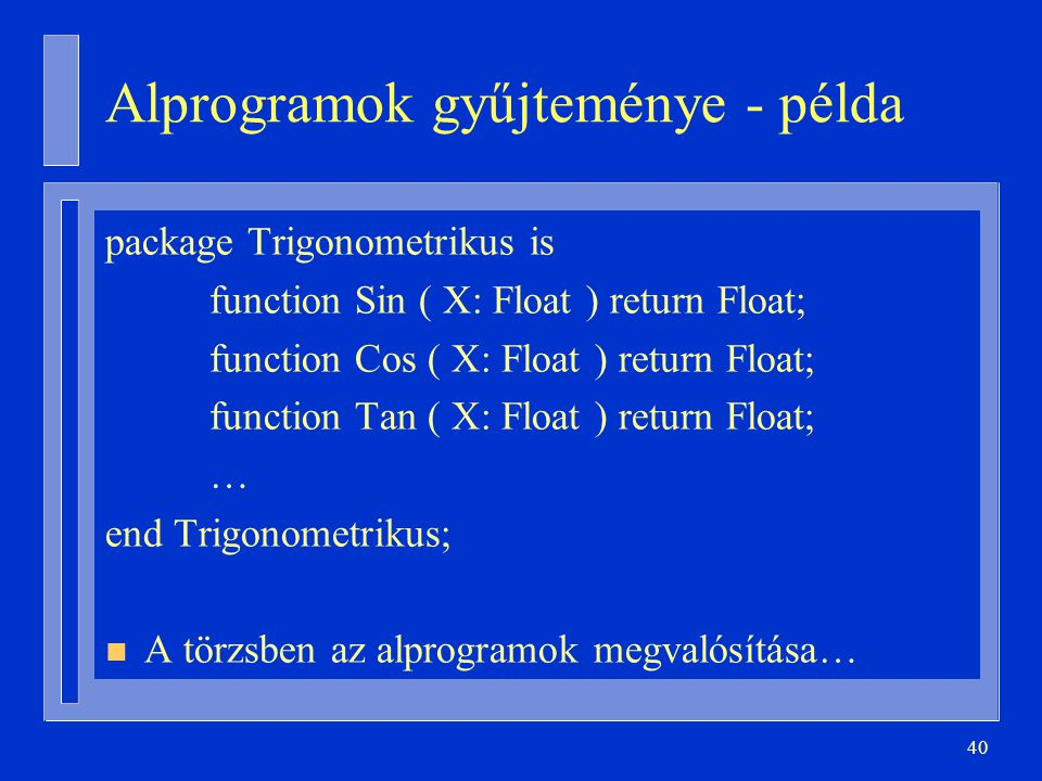 Alprogramok gyűjteménye - példa