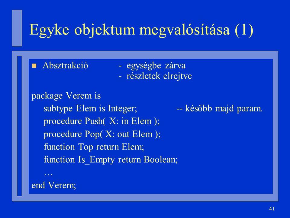 Egyke objektum megvalósítása (1)