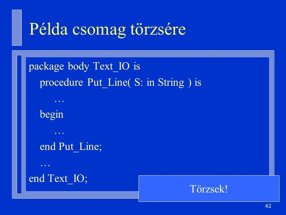 Példa csomag törzsére package body Text_IO is